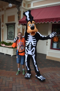 Vacationer enjoying a photo opportunity during the Halloween Celebration