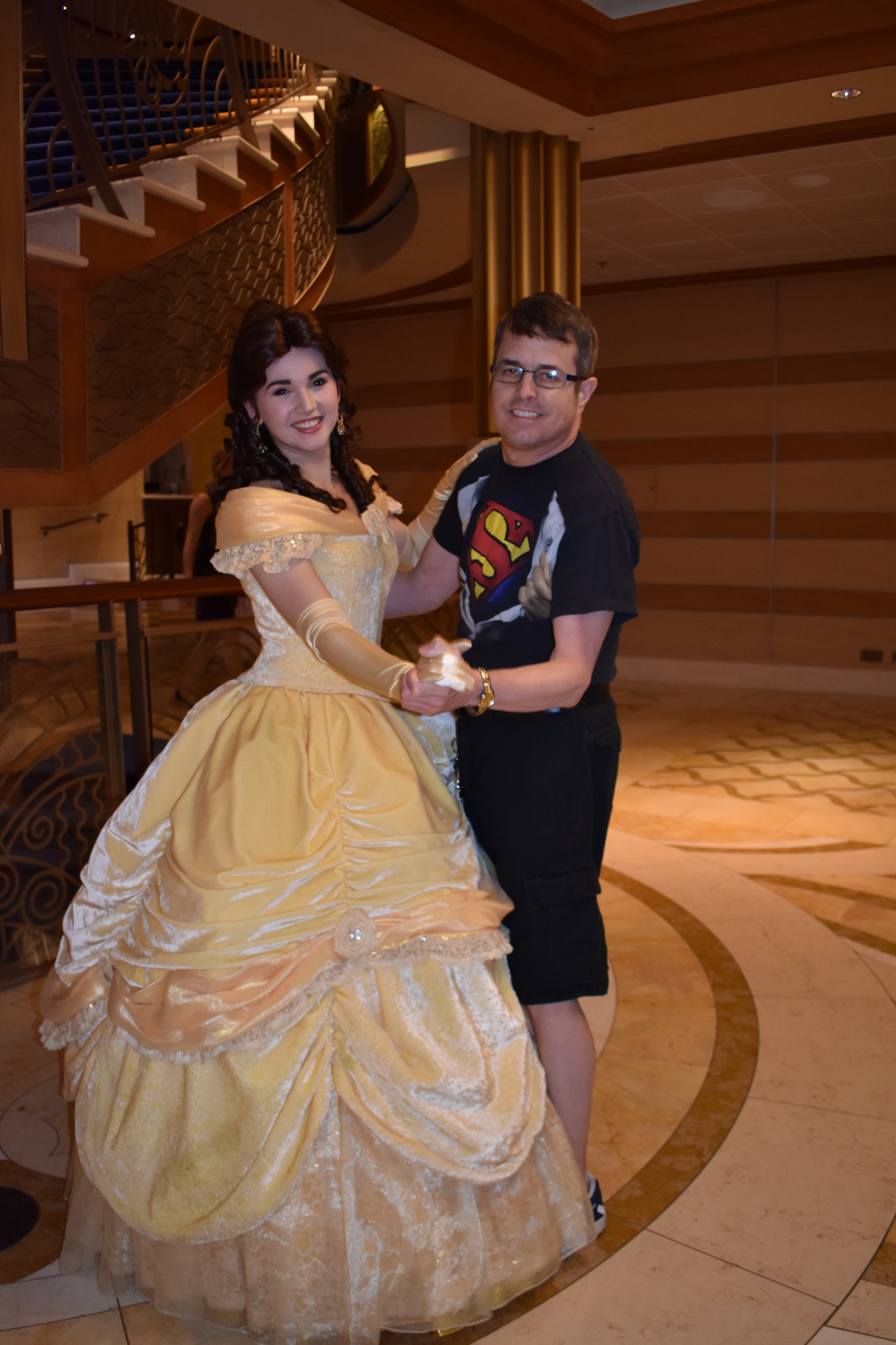 Vacationer posing with a princess