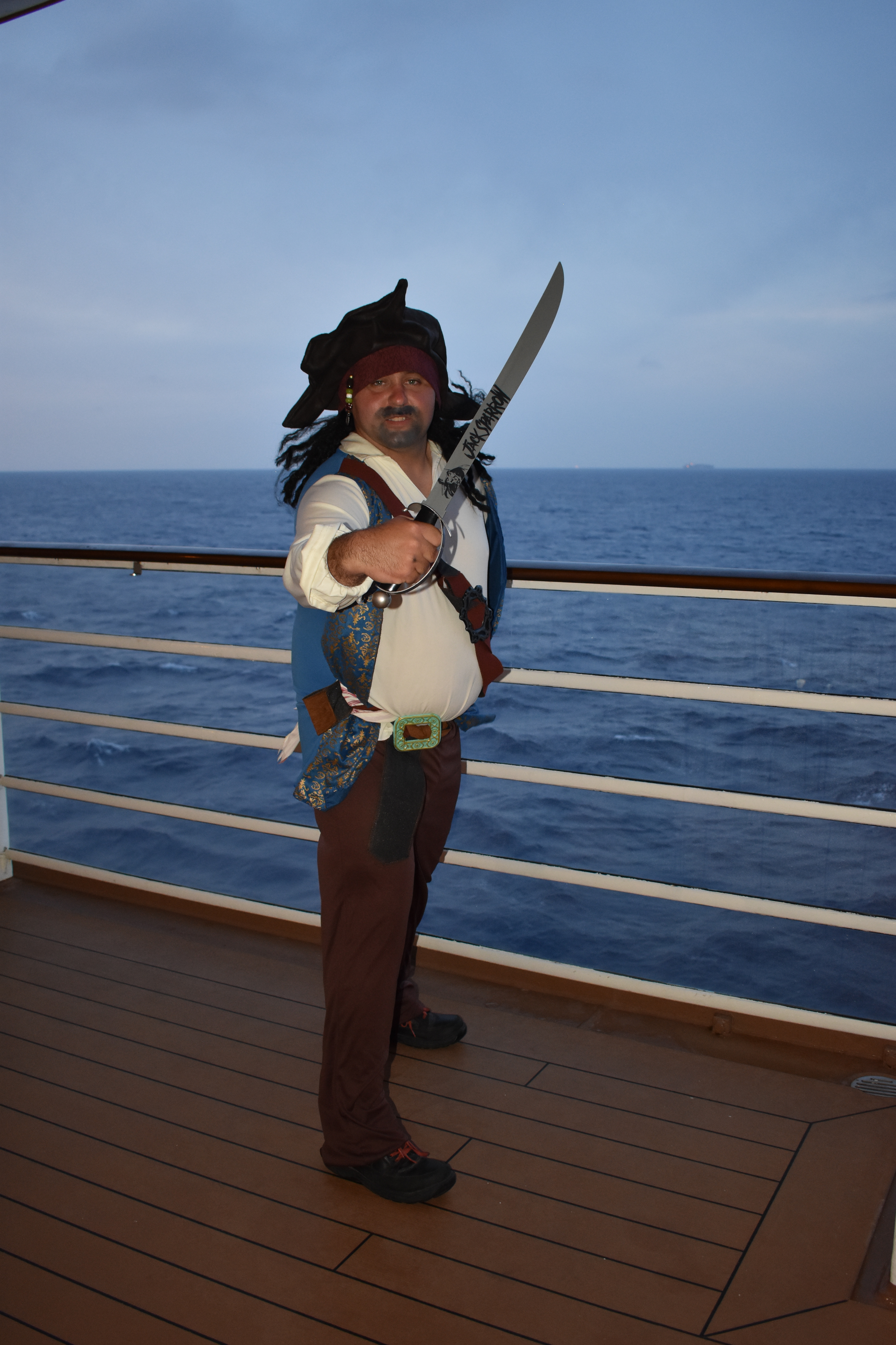 Vacationer pretending to be a pirate.