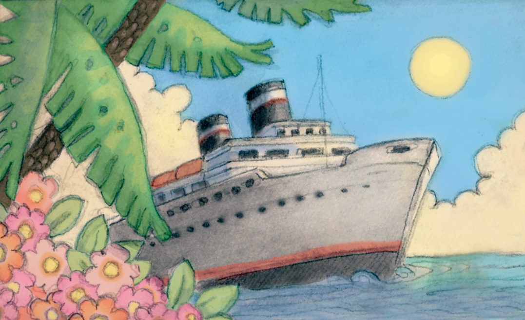 Vintage cruise ship Illustration