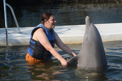 Vacationer touching the fins of a dolphin.